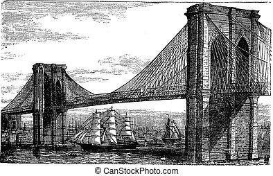 ábra, közül, brooklyn bridzs, és, kelet folyó, new york, egyesült, states., szüret, metszés, alapján, 1890s