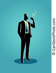 ábra, közül, egy, üzletember, dohányzó
