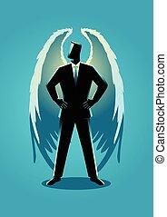 ábra, közül, egy, angyal, mint, egy, üzletember