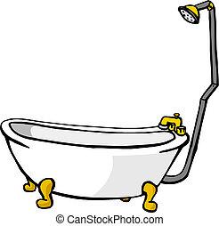 ábra, közül, egy, fürdőkád