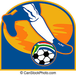 ábra, közül, egy, futball játékos, futás, labda, noha, lobogó, közül, republic of south africa