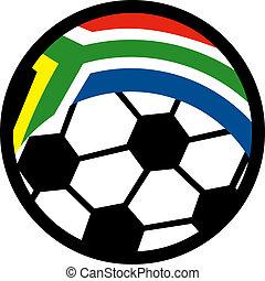 ábra, közül, egy, ikon, helyett, közül, egy, focilabda, noha, lobogó, közül, republic of south africa
