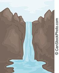 ábra, közül, egy, waterfall., eps10