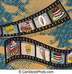 ábra, közül, film, leszed, noha, fénykép, közül, élelmiszer, képben látható, blue háttér, ., clip-art, illustration.