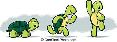 ábra, közül, három, teknősbéka, futás, és, ugrás, noha,...
