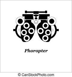 ábra, közül, phoropter., vector., látszerész, ophtalmology,...