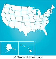 ábra, közül, the összehangol megállapít of america, állam,...