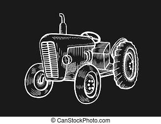 ábra, kerekes, traktor