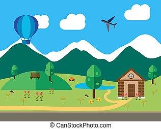 ábra, lakás, karikatúra, táj, színezett