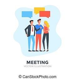 ábra, lakás, meeting., emberek., vektor, design., ügy