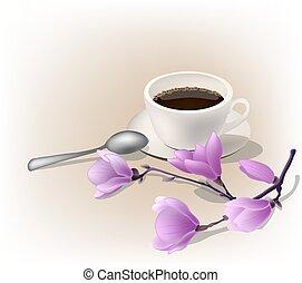 ábra, magnólia, csésze, eszpresszókávé, coffe, vektor, branch.
