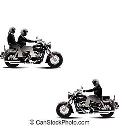 ábra, motorkerékpár, vektor