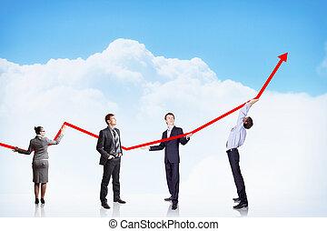 ábra, növekedés, ügy, siker
