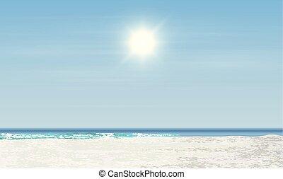 ábra, napkelte, gyakorlatias, vektor, napnyugta, /, tengerpart, táj