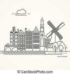ábra, netherlands., lineáris, amszterdam
