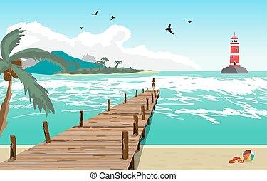 ábra, nyár, világítótorony, pier., öreg, lakás, fából való, sziget, vektor, móló, tengerpart, nő, pálma fa, tenger, árnykép, távolság., táj, kilátás