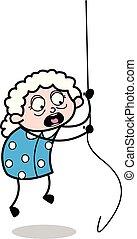 ábra, odaköt, vektor, nagymama, -, öregasszony, függő, karikatúra
