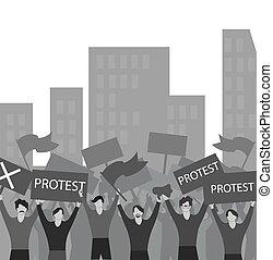 ábra, protesters., strike., banners., meeting., háttér., emberek, zászlók, fehér, vektor, tolong, protest.