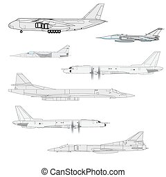 ábra, rajzoló, team., vektor, küzdelem, aircraft.