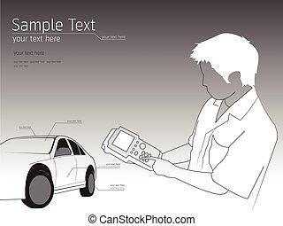 ábra, rendbehozás, szerelő, technikus, autó, autó