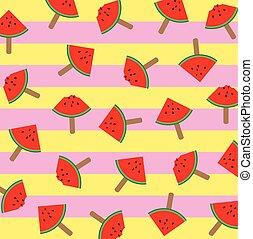ábra, színes, szelet, motívum, jég, vektor, görögdinnye, bot, háttér, krém