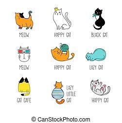 ábra, vektor, doodles, gyűjtés, macska