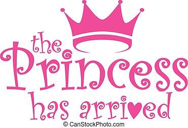 ábra, vektor, megérkezik, címke, kap, hercegnő