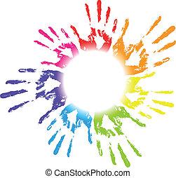 ábra, vektor, színes, han