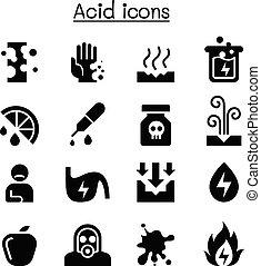 ácido, conjunto, icono