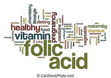 ácido, folic, palabra, nube