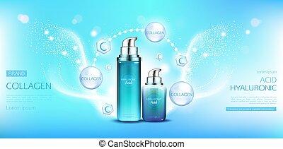 ácido, mockup, collagen, hyaluronic, cosméticos, pacotes