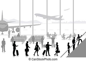 ácsorog, repülőtér, emberek