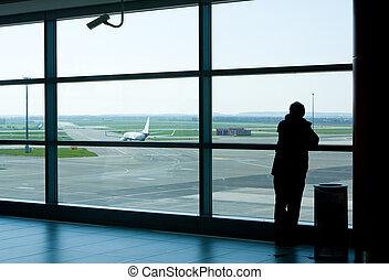 ácsorog, repülőtér, várakozási körlet