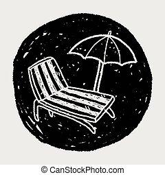 ácsorog, szórakozottan firkálgat, szék