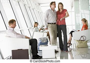 ácsorog, utas, repülőtér, indulás, várakozás