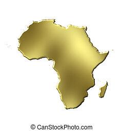 áfrica, 3d, dorado, mapa