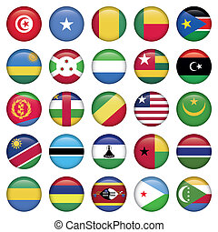 áfrica, bandeiras, redondo, botões