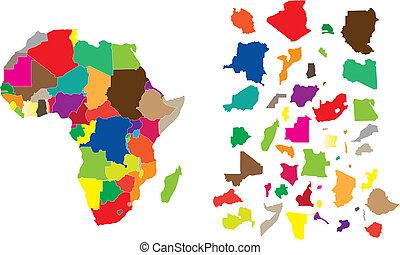 áfrica, continente, rompecabezas