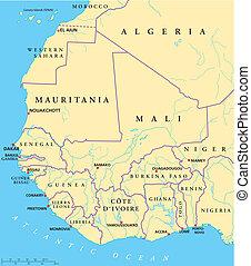 áfrica del oeste, mapa