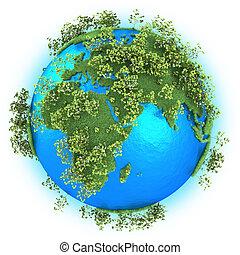 áfrica, europa, y, asia occidental, en, tierra de planeta