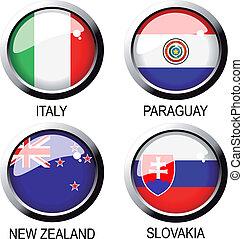 áfrica, -, (group, vector, banderas, f), sur