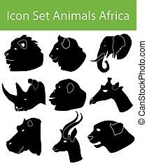 áfrica, icono, animales, conjunto