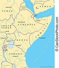 áfrica, leste, político, mapa