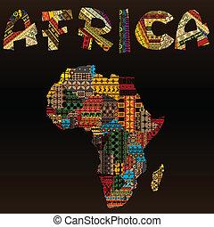 áfrica, mapa, com, africano, tipografia, feito, de, patchwork, tecido, textura
