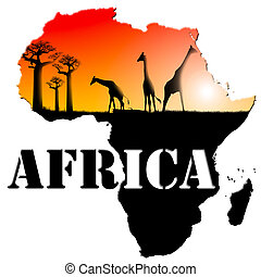 áfrica, mapa, ilustração