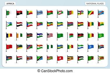 áfrica, nacional, bandeiras