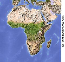áfrica, protegidode la luz, mapa en relieve
