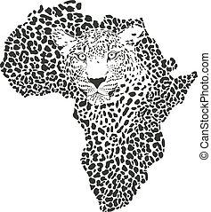 áfrica, símbolo, leopardo, camuflaje