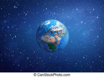áfrica, space., planeta, ásia, europa, earth.