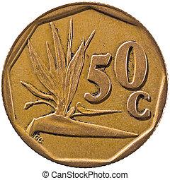 """áfrica sul, suid-africa, 50c, coin., pássaro-de-flor paraíso, geralmente, sabido, em, áfrica sul, como, a, """"crane"""", flower., que, flor, é, nativo, para, sul, áfrica., cercar, nonagon., (reverse)"""